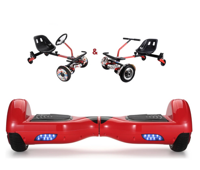 UNLEASH THE RACER IN YOU!! - Racer Steering Wheel Hoverkart + Hoverboard Bundle - Red-TheSwegWay-UK