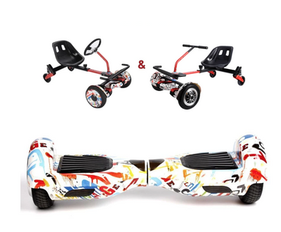UNLEASH THE RACER IN YOU!! -- Racer Steering Wheel Hoverkart + Hoverboard Bundle - Graffiti - TheSwegWay-UK