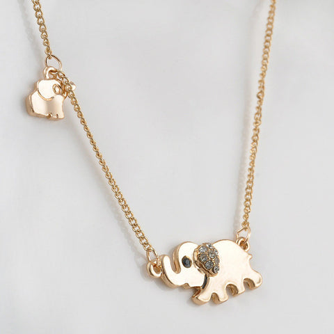 Sparkling Good Luck Gold Double Elephant Stroll Design Pendant Necklace Punk Statement Necklace Women Jewelry P1203