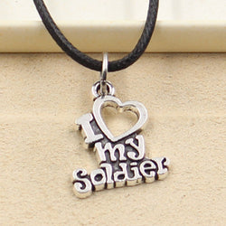 New Fashion Tibetan Silver Pendant i love my soldier Necklace Choker Charm Black Leather Cord Factory Price Handmade Jewlery