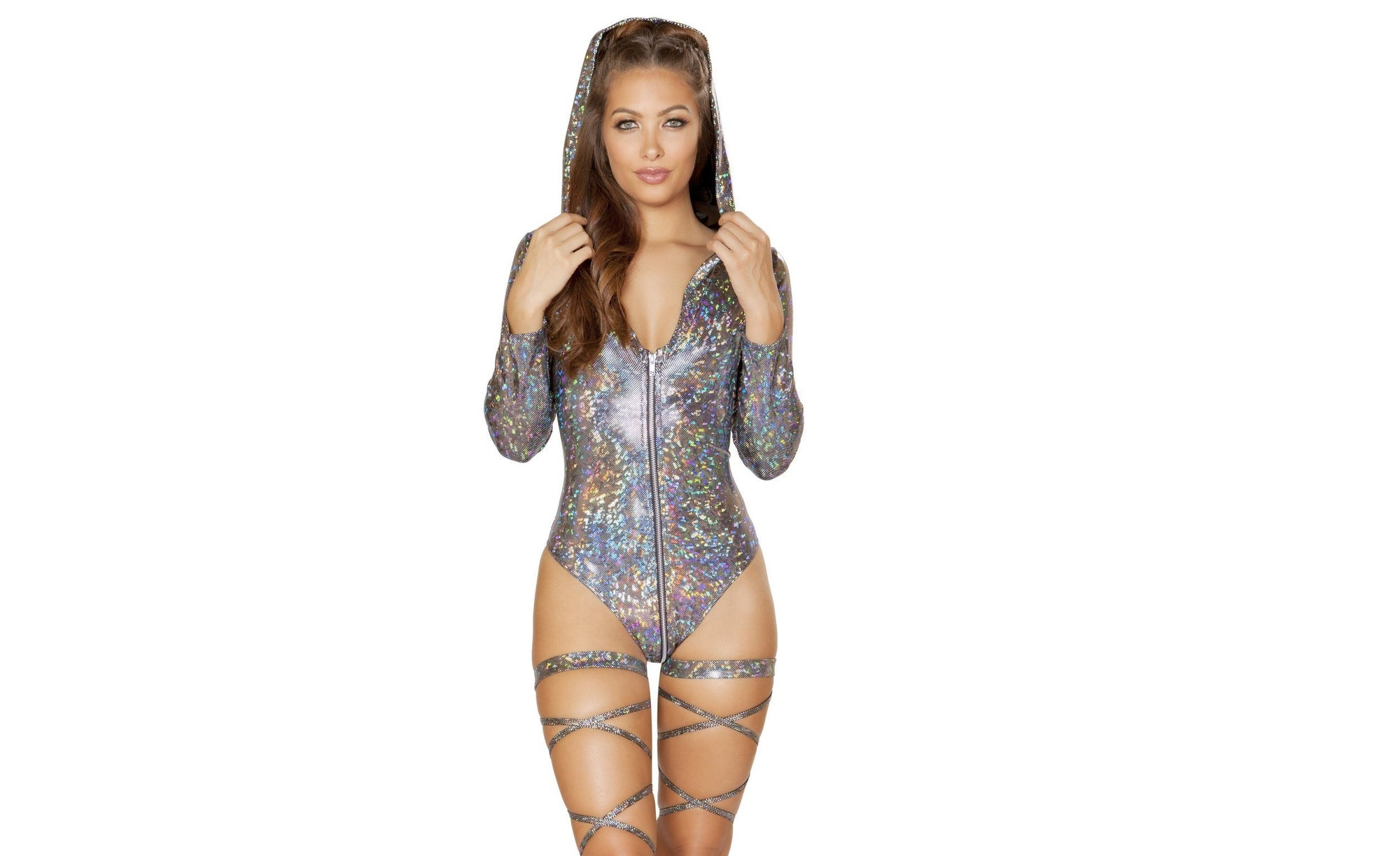 Silver Holographic Hoodie Zip-Up with Bikini Bottom