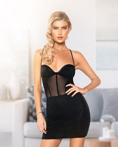 RaveFix SHEER MESH CORSET LOOK DRESS - 10% off and Free Same Day Shipping