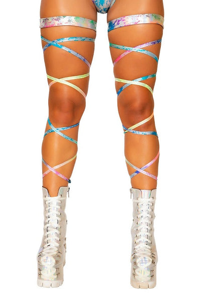 Rainbow Splash Leg Strap with Attached Garter