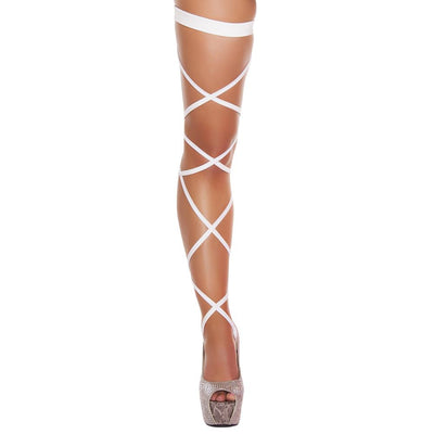 Buy Pair of Leg Strap with Attached Thigh Garter from Rave Fix for $9.75 with Same Day Shipping Designed by Roma Costume, Inc. 3231-Wht-O/S