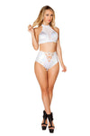 Buy Lace-Up High Waisted Shorts from Rave Fix for $28.00 with Same Day Shipping Designed by Roma Costume 3457-Blk-S/M