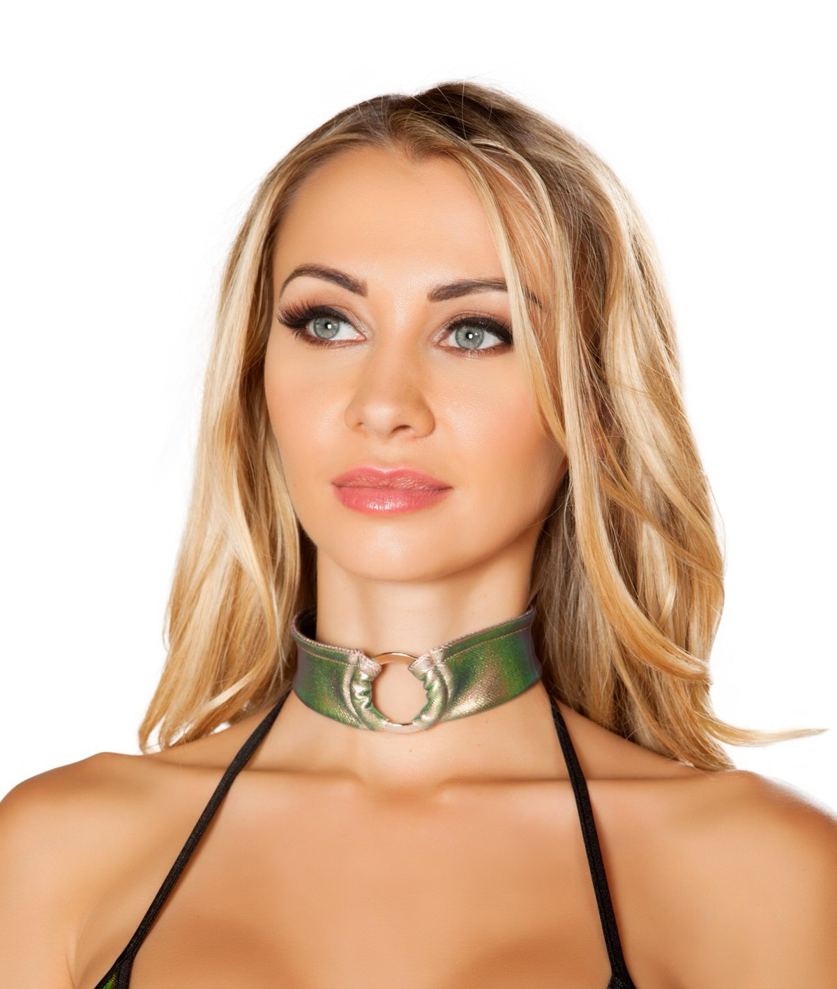 3490 - Roma Rave Light Multi Iridescent O-Ring Choker