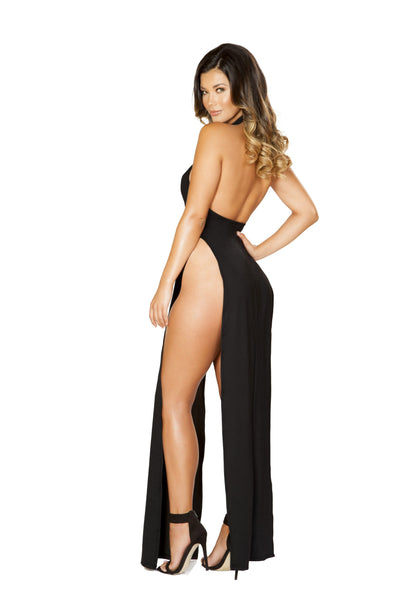 Roma Clubwear Maxi Length Halter Neck Dress with High Slits Back