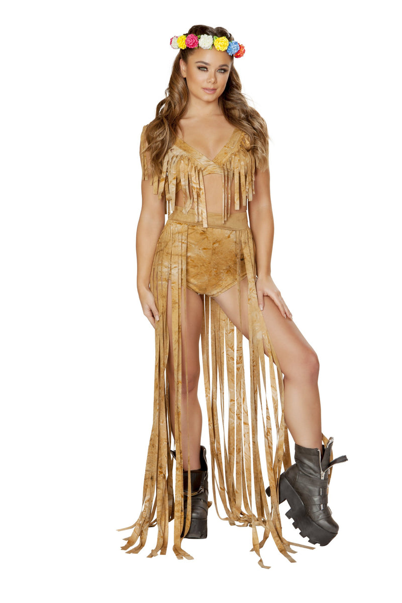 Buy 3589 - 1pc Brown Tie Dye Suide Long Fringe Open Front Skirt from Rave Fix for $37.50 with Same Day Shipping Designed by Roma Costume 3589-Brwn-S/M