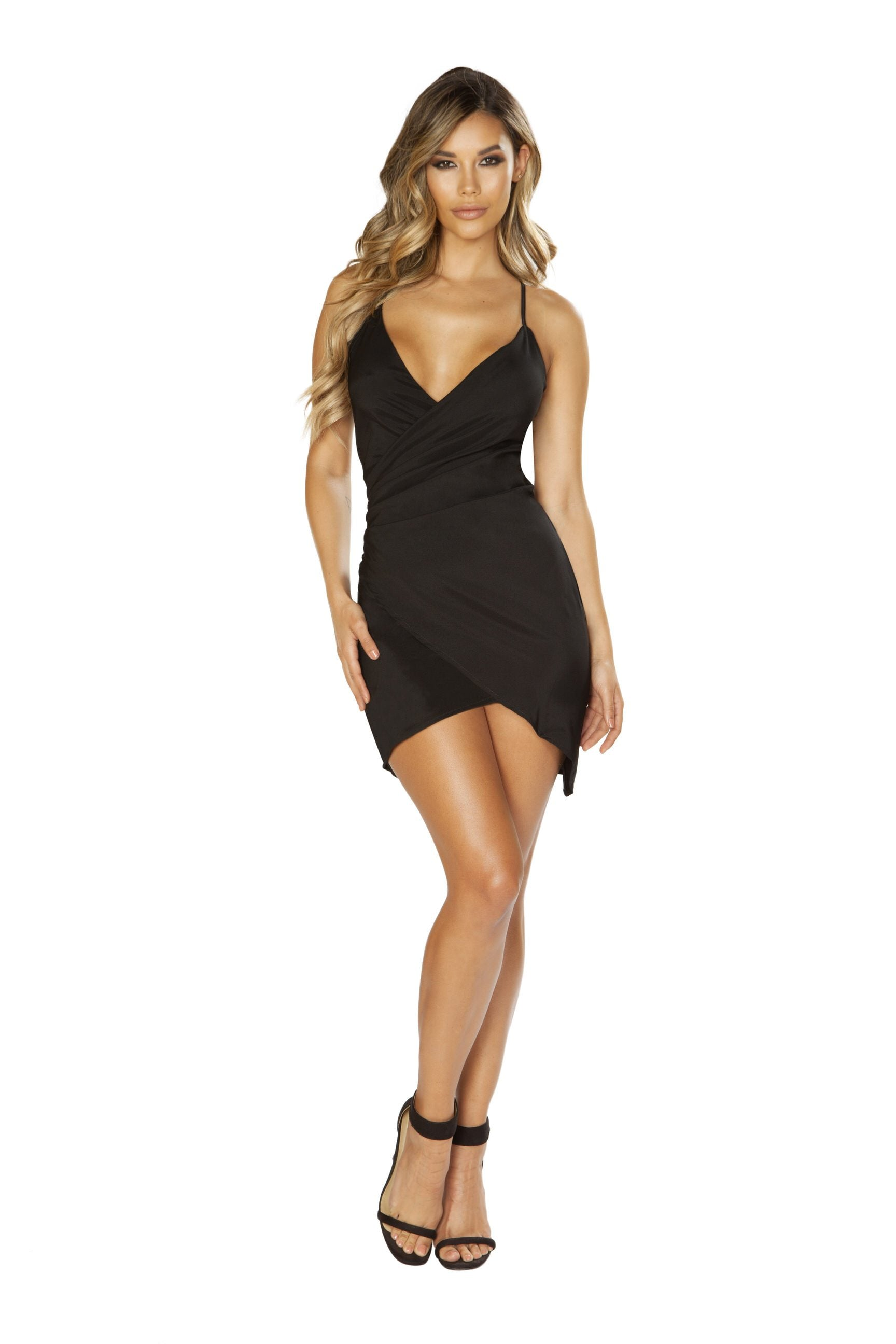 Buy Spaghetti Strap Satin Dress with Overlapping Scrunch Detail from Rave Fix for $29.25 with Same Day Shipping Designed by Roma Costume 3644-Blk-S