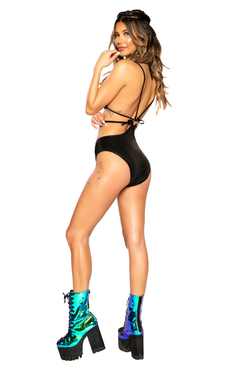 Buy 1pc Strappy Sequin Romper from Rave Fix for $45.99 with Same Day Shipping Designed by Roma Costume 3677-Blk-S/M
