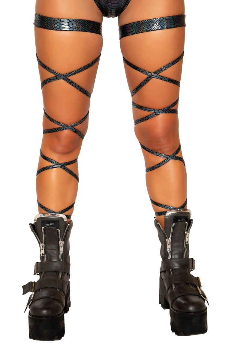 "Buy 100"" Snake Skin Leg Strap with Attached Garter from Rave Fix for $12.99 with Same Day Shipping Designed by Roma Costume 3686-Blk-O/S"