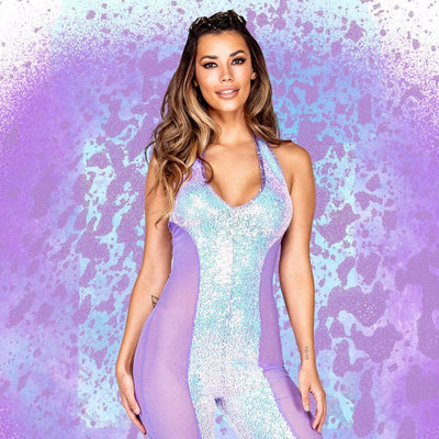 1pc Haltered Catsuit with Mesh and Sequin Detail