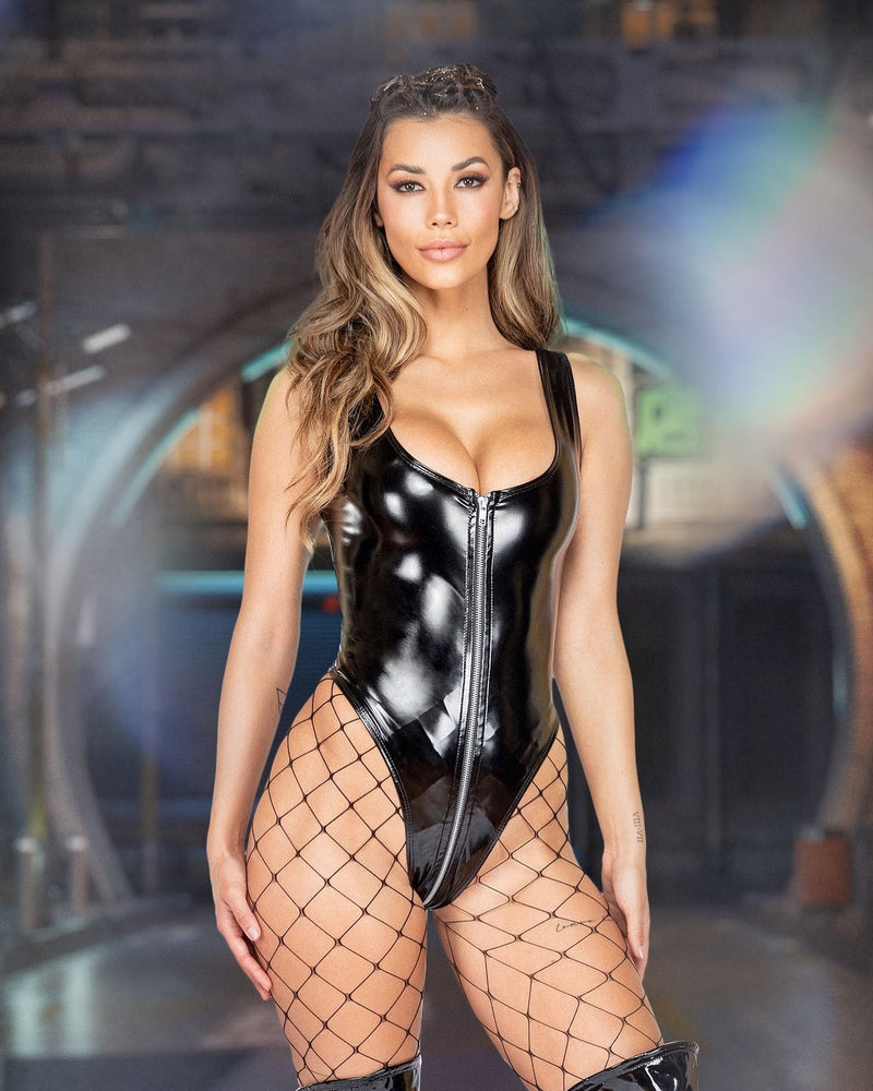 1pc Latex Romper with Zipper Closure
