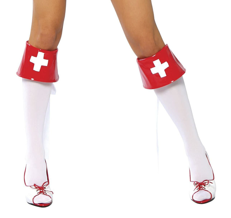 Buy 4007B - Red and White Boot Cuffs from Rave Fix for $7.50 with Same Day Shipping Designed by Roma Costume 4007B-AS-O/S