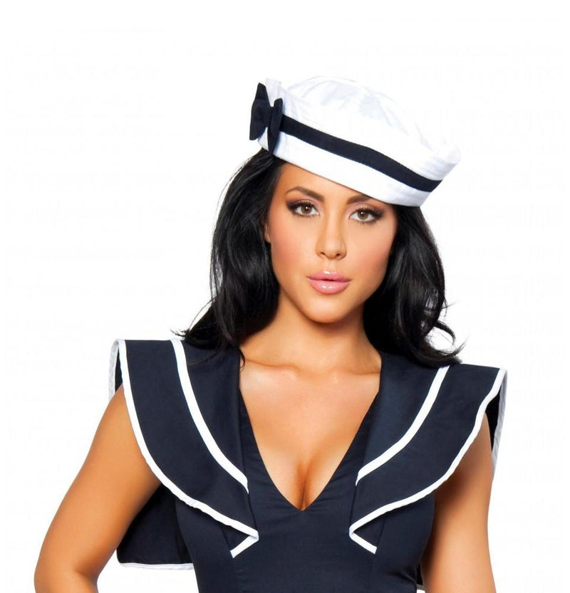 H105-Sailor Hat with Blue Bow Sailor Hat with Blue Bow - Roma Costume Accessories