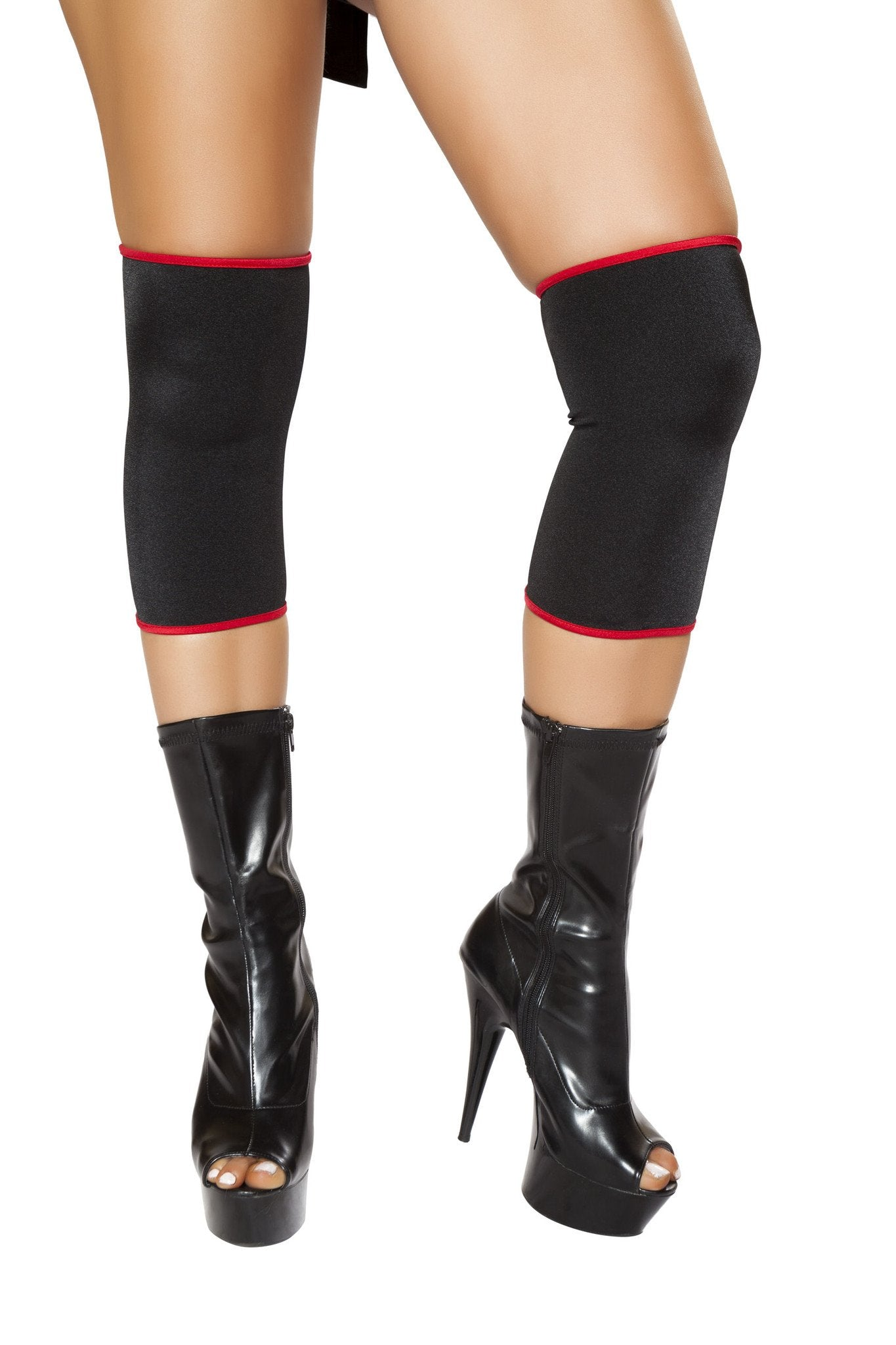 Buy 4698 - Black/Red Ninja Knee Pads from Rave Fix for $7.50 with Same Day Shipping Designed by Roma Costume 4698-AS-O/S