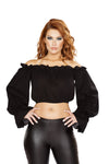 Buy 4769 - Ruffled Pirate Tube Top with Sleeves from Rave Fix for $11.25 with Same Day Shipping Designed by Roma Costume 4769-Blk-S