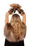 Pair of Faux Fur Viking Arm Cuffs with Strap Detail