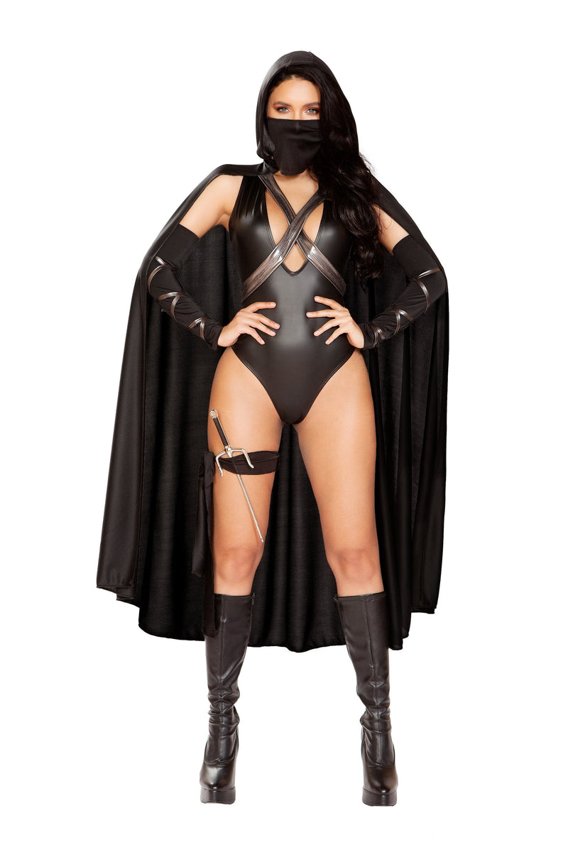 RaveFix 5pc Ninja Villain Includes Hooded Cape with Criss-Cross Tie Straps, Low Cut Romper, Mask, Leg Tie, & Trident