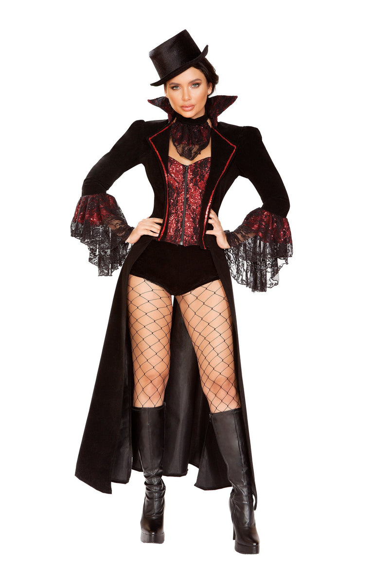 RaveFix 4pc The Lusty Vampire Costume Includes Long Coat with Flair Sleeves and Trim Detail on Collar and Built in Corset with Zipper Closure, Neckpiece, Shorts, & Top Hat