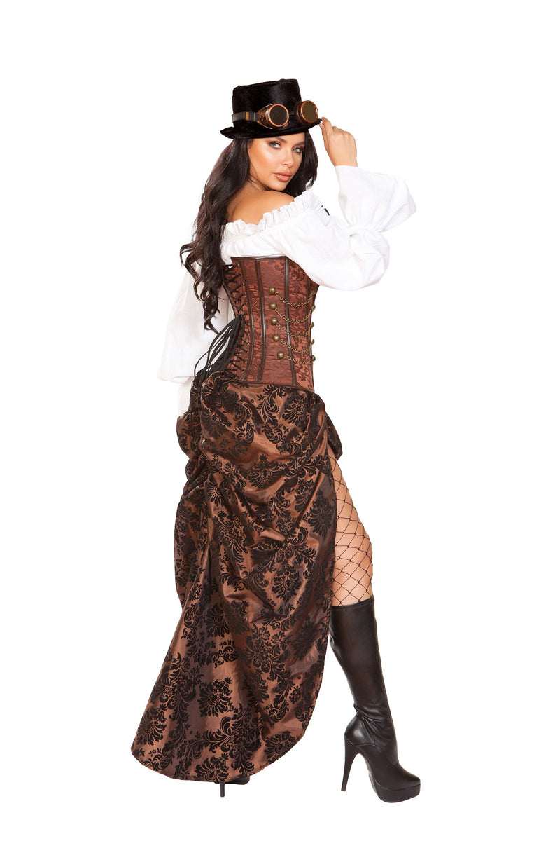 RaveFix 6pc Machinery Steampunk Includes Long Sleeves Top, Corset with Lace-Up and Hook Closure, High Cut Skirt, Toy Gun, Top Hat, & Goggles