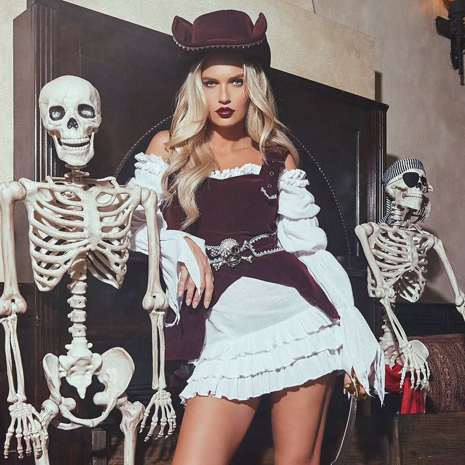 RaveFix 4pc Armed Pirate Includes Long Sleeved Dress, Corset with Buckle Detail, Sword, & Hat