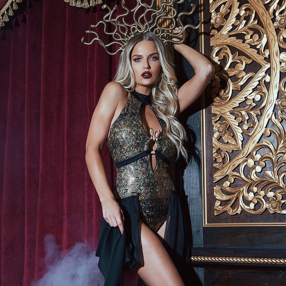 RaveFix 3pc Medusa Snake Lover Includes Keyhole Romper with Snake Detail, Detachable Drape Skirt, & Medusa Headpiece