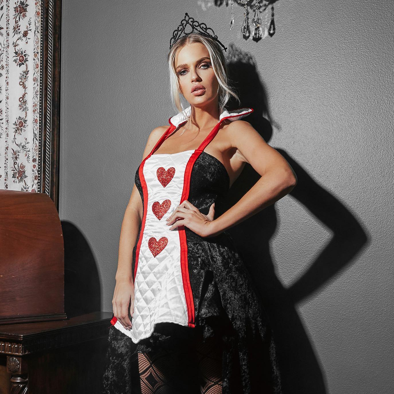 RaveFix 2pc Ruler of hearts Includes Maxi Length Dress with Heart Patch Details, & Crown