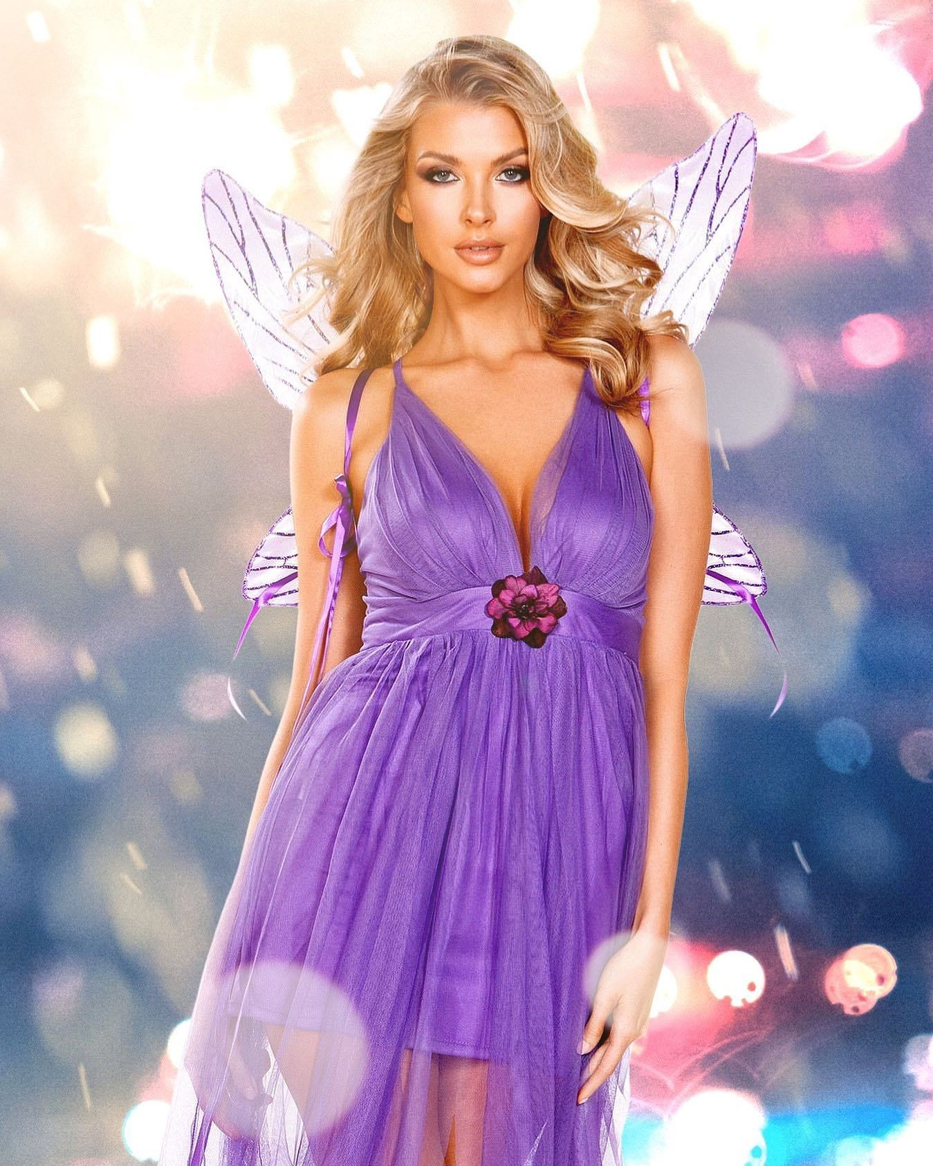 2pc Lilac Fairy Includes Maxi Length Flair Dress with Lining Dress and Flower Detail, & Wings