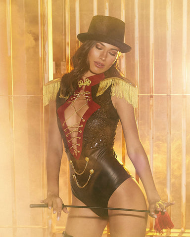 2PC Beauty Ringmaster - Bodysuit with Lace-Up Detail and Fringe Shoulder Pads, & Top Hat