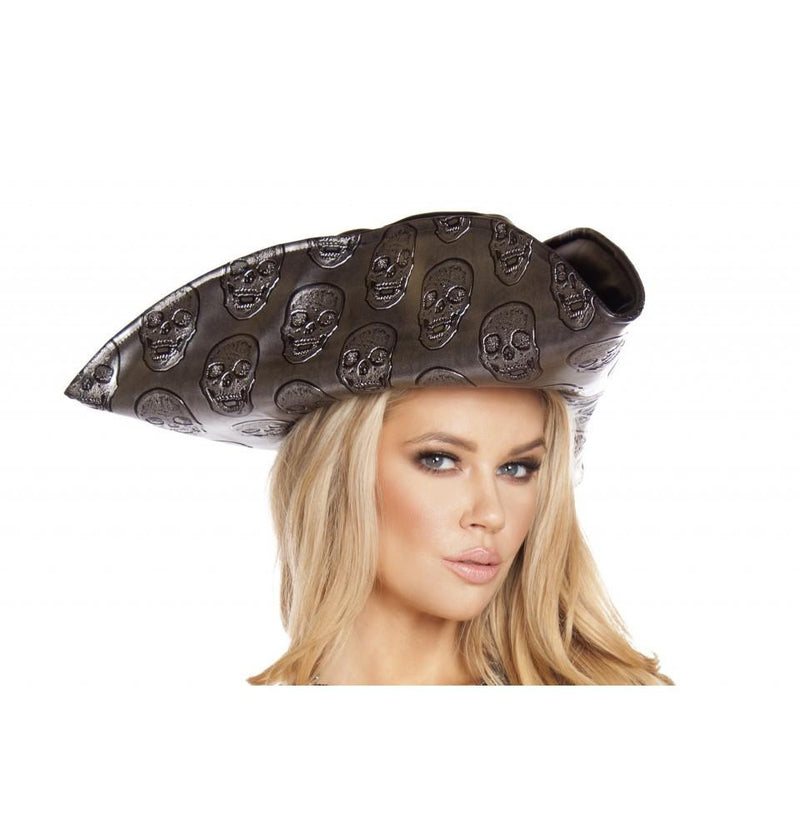 H4566 Skull Embroidered Pirate Hat - Roma Costume Costumes,Accessories