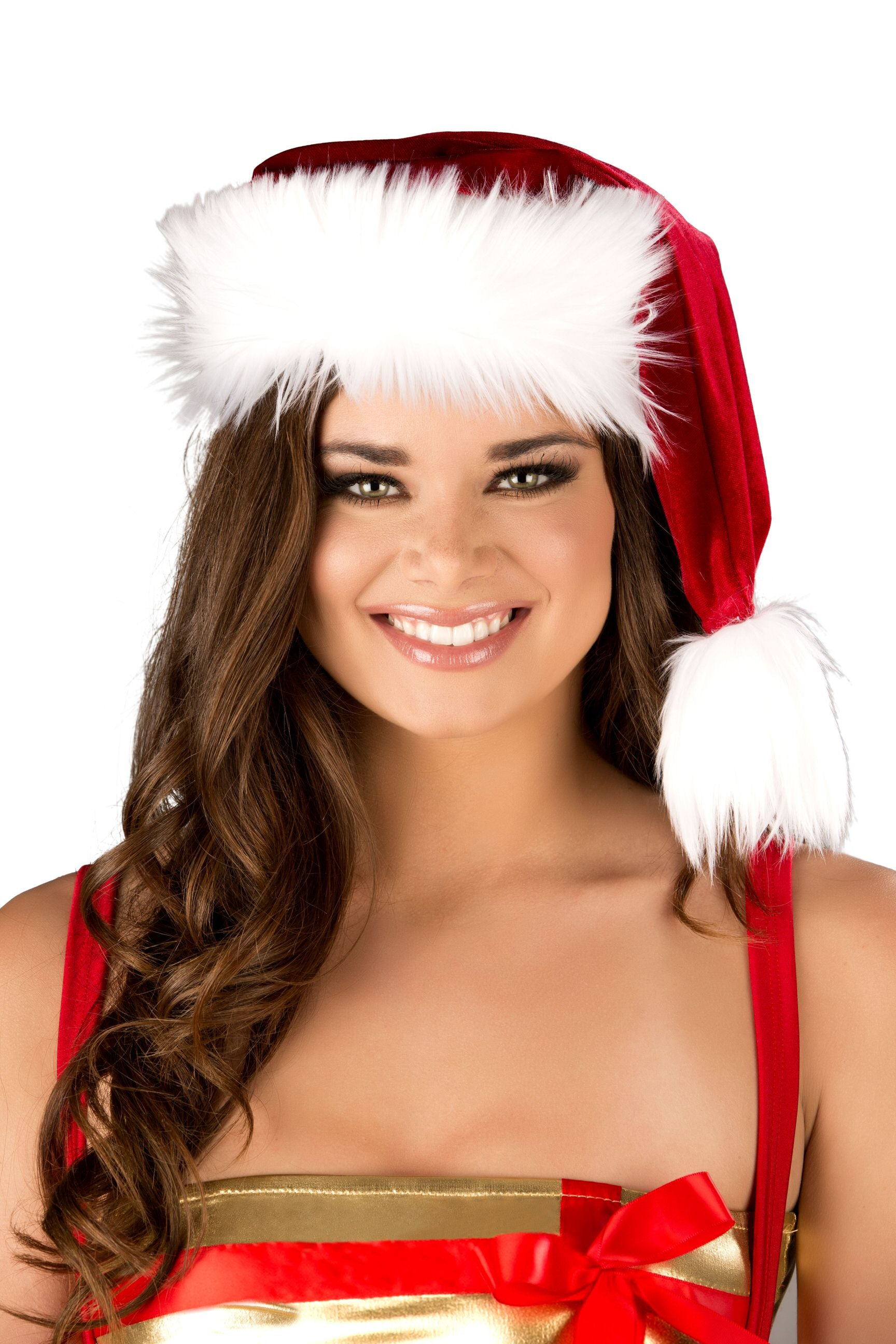 Red and White Fur Trimmed Christmas Hat