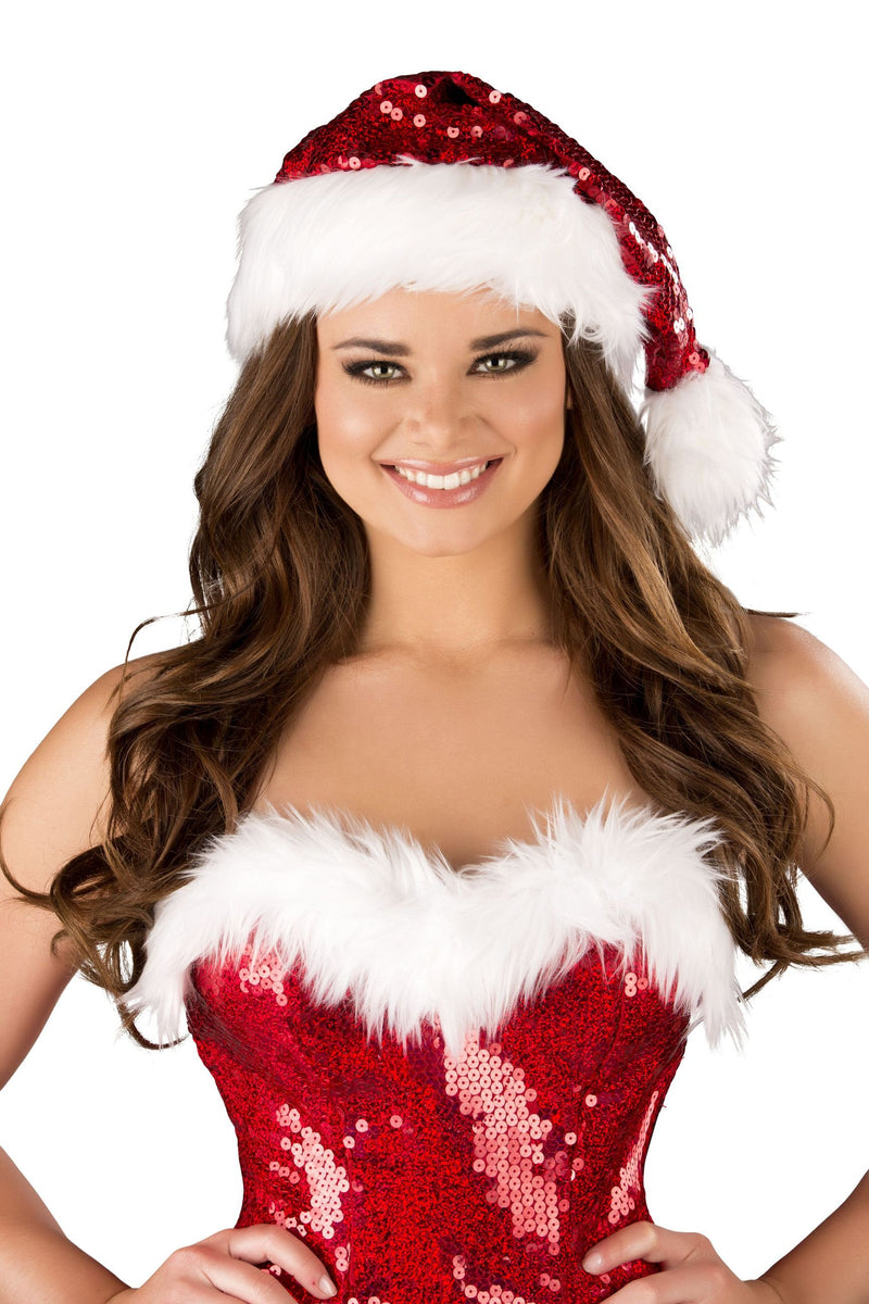 Buy Red and White Fur Trimmed Sequin Christmas Hat from Rave Fix for $13.50 with Same Day Shipping Designed by Roma Costume C156-AS-O/S