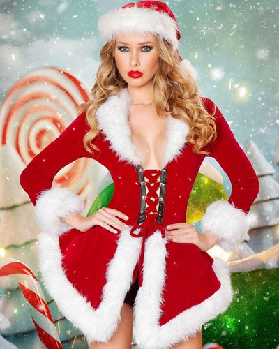Rave Fix 2pc Sexy Santa Chic Christmas Costume.Includes Jacket with Lace-up Front, Fur Trimmed Detail, & Velvet Shorts. Free Shipping