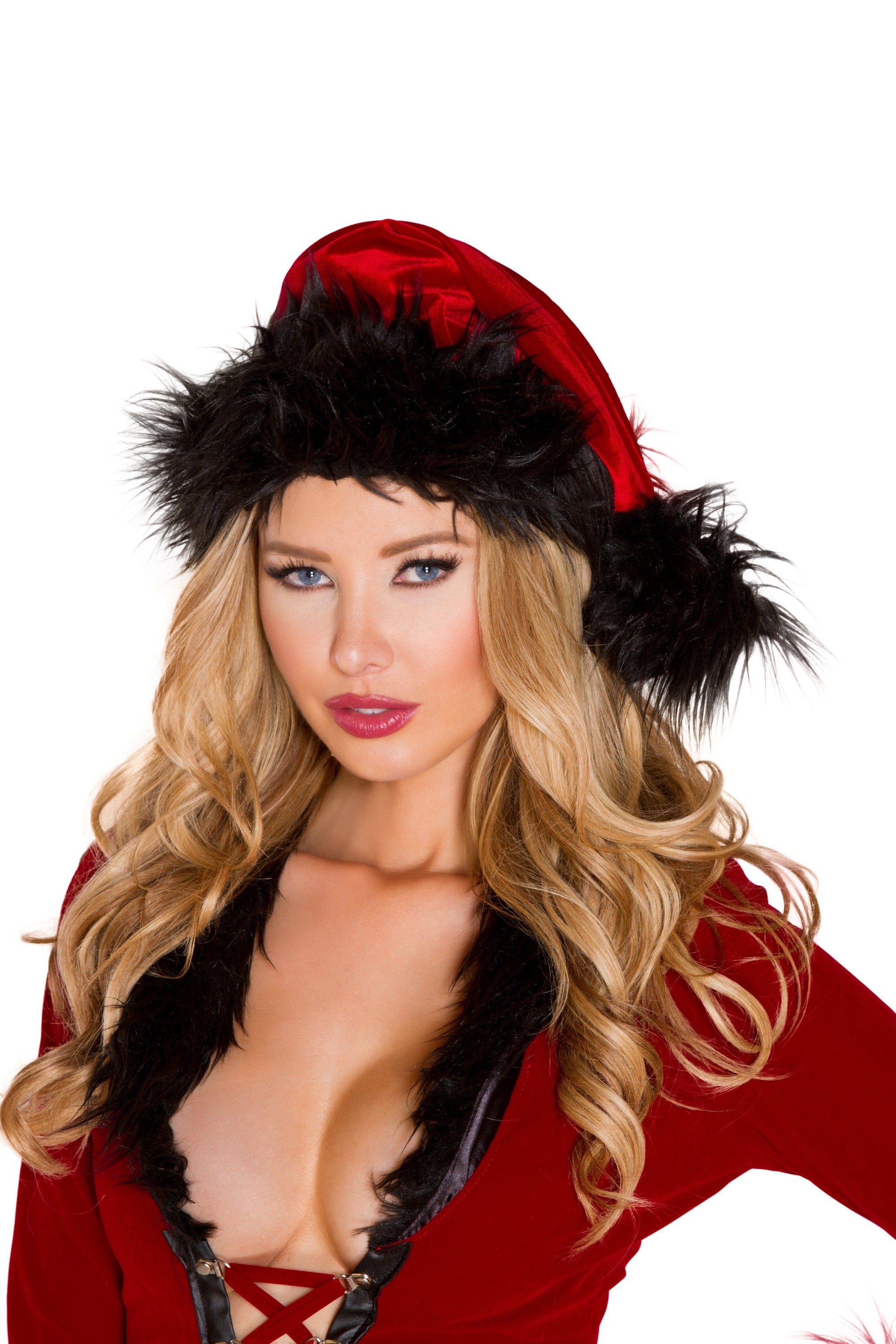 Red and Black Fur Trimmed Evil Santa Christmas Hat