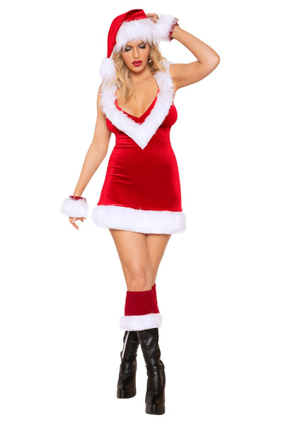 Rave Fix Christmas Night Dress 1pc Dress with Faux Fur Detail. Sexy Santa outfit. Sassy Santa Costume. Christmas Shopping. Free Shipping. Santa Claus Costume.