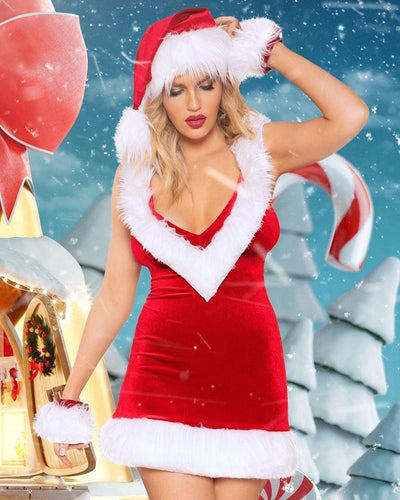 Rave Fix Sexy Christmas Santa Costume Outfit.1pc Dress with Faux Fur Detail. Free Shipping. Great Christmas gift ideas. Sexy santa holiday costume