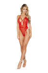 Feminine Teddy with Bow & Cross Strap Detail - Red