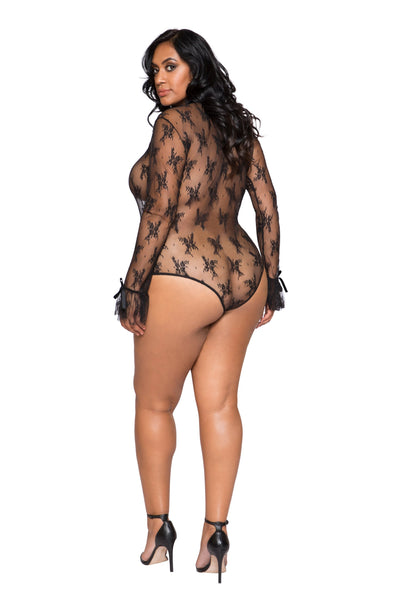 LI248 - Rave Fix Plus Size Lingerie Elegant Long Sleeved Keyhole Teddy with Ruffle Detail & Snap Bottom