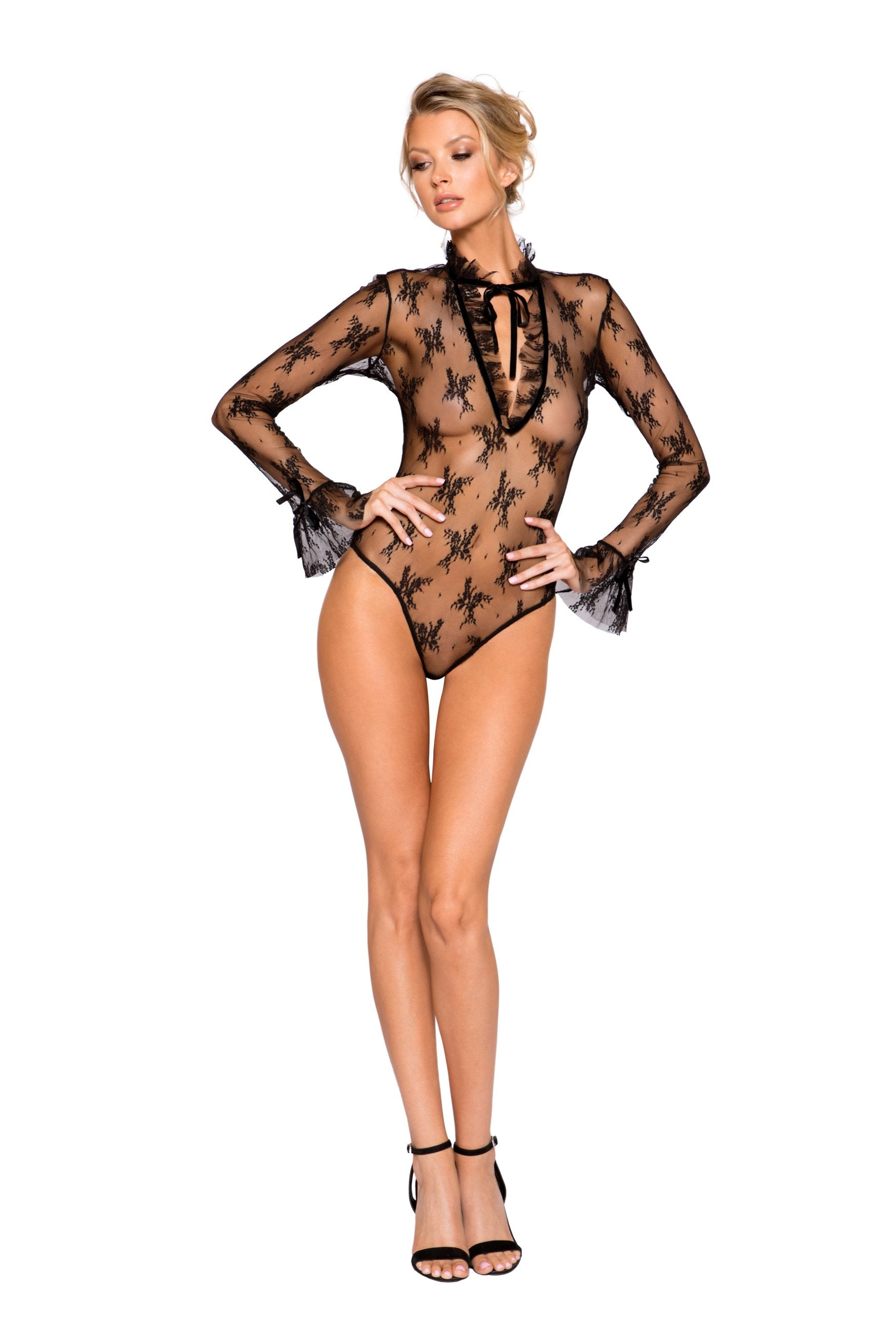 Buy Elegant Long Sleeved Keyhole Teddy with Ruffle Detail & Snap Bottom from Rave Fix for $44.00 with Same Day Shipping Designed by Roma Costume LI248-Blk-S/M
