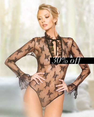 Rave Fix Sexy Lingerie Set Elegant Long Sleeved Keyhole Teddy with Ruffle Detail & Snap Bottom. Best place to buy lingerie online for valentines day at 30% off and free shipping!