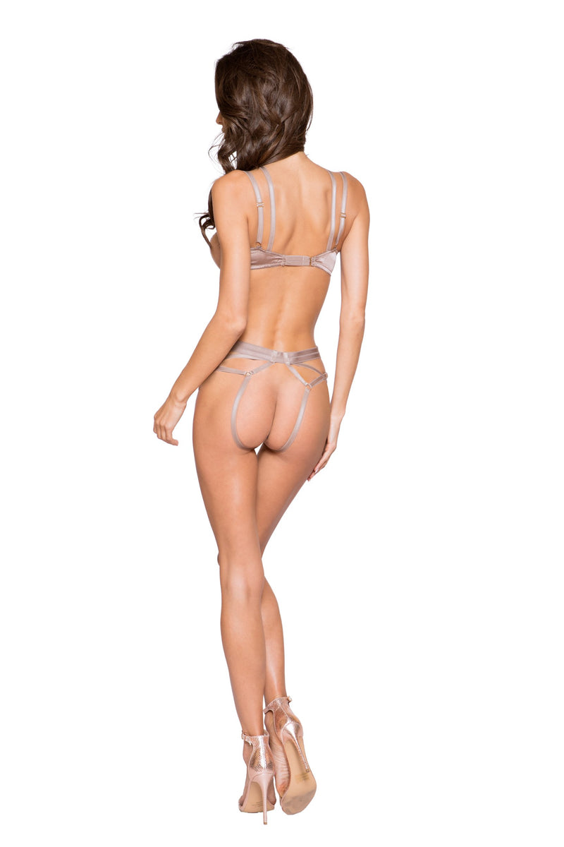 LI269 Rave Fix Lingerie Beige Open Underwire Cup & Crotchless Holster Short Set