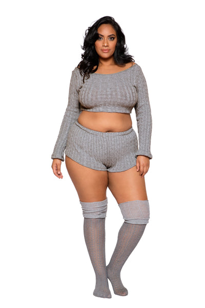 Buy Cozy & Comfy Pajama Short Set from Rave Fix for $52.99 with Same Day Shipping Designed by Roma Costume LI287Q-Grey-XL/XXL