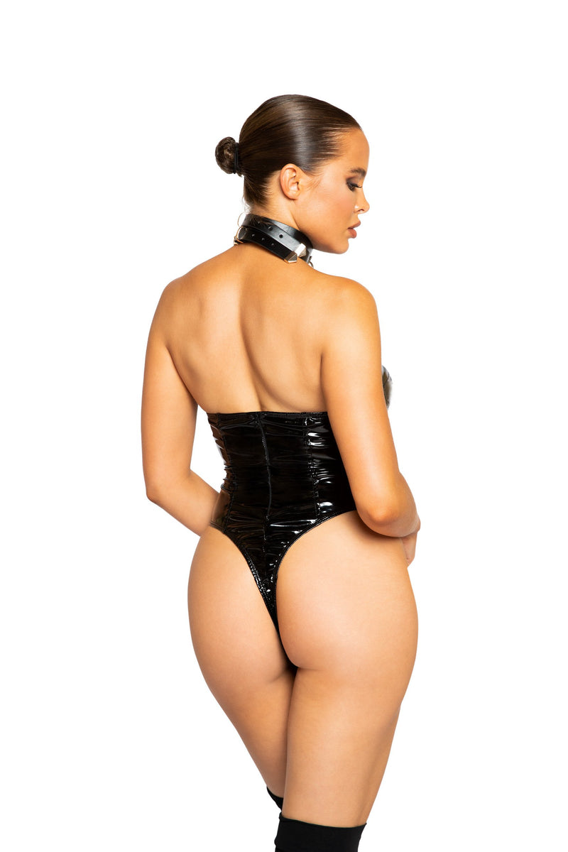 RaveFix Lingerie High-Cut Vinyl Bodysuit