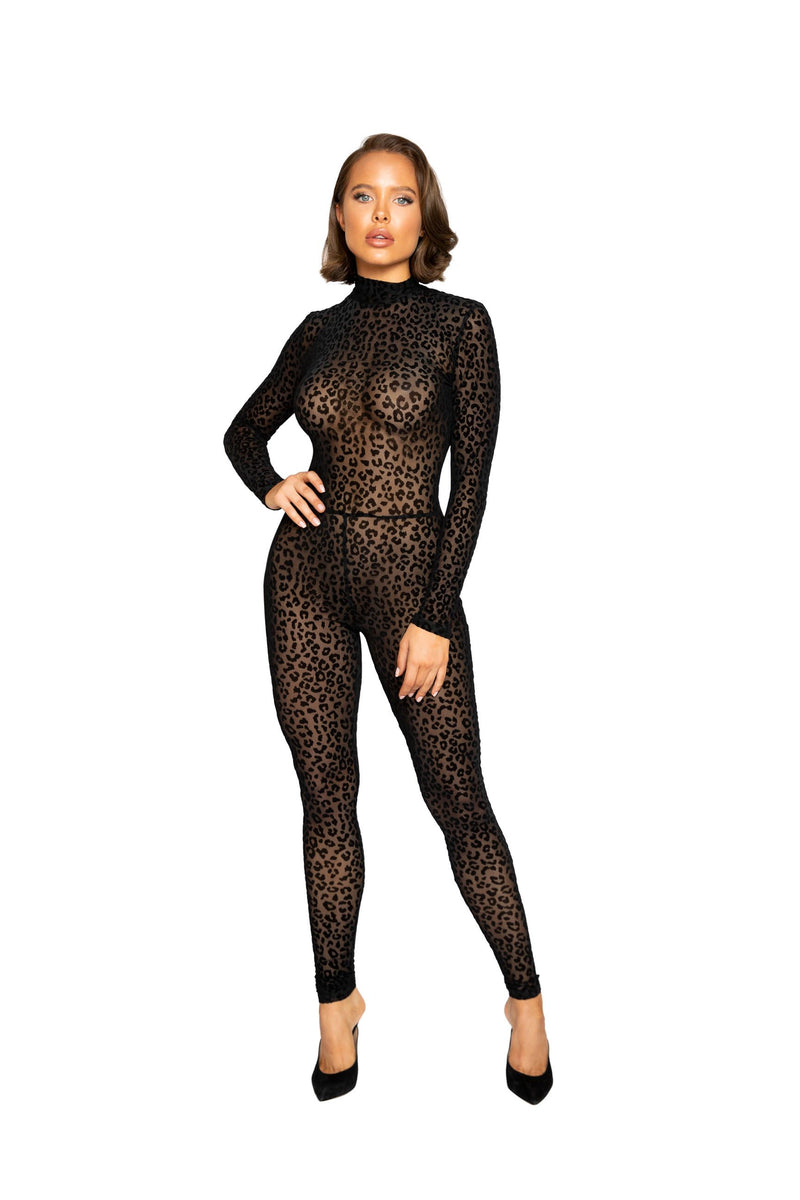 Buy Velvet Leopard Bodysuit from Rave Fix for $50.00 with Same Day Shipping Designed by Roma LI376-Blk-S