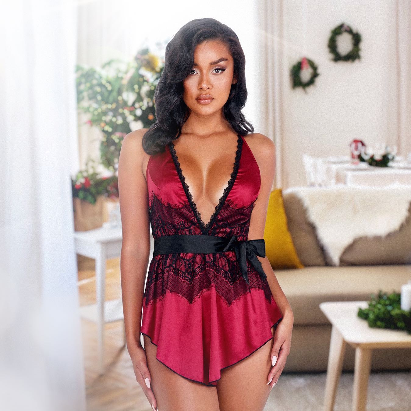 2pc Satin & Lace Babydoll with Tie