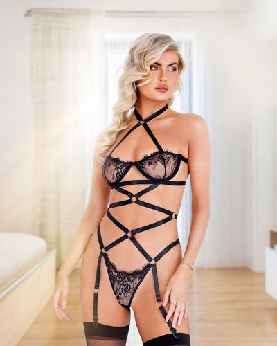 Lacey Criss-Cross Underwired Teddy with Garters
