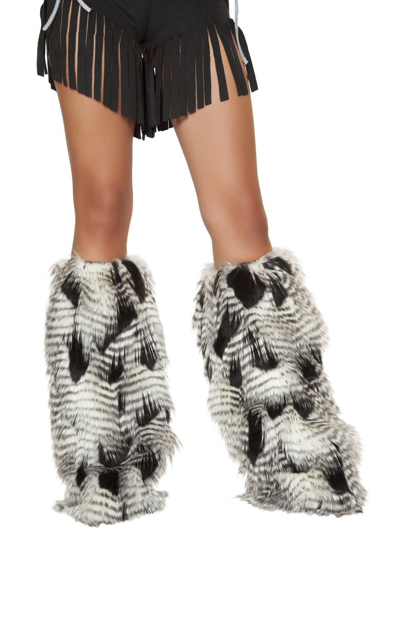 Pair of Feather Look Faux Fur Leg Warmer