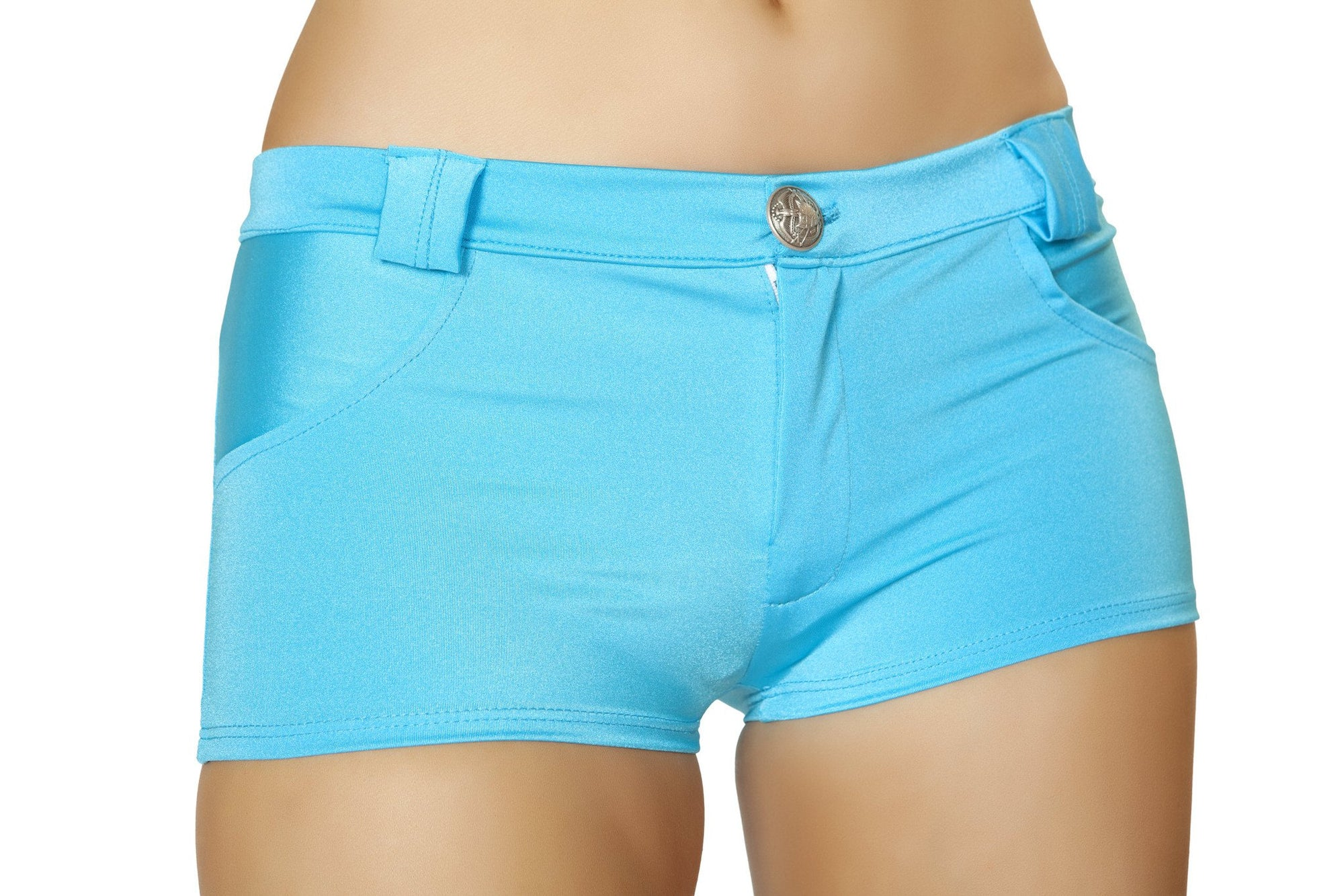 Button Front Shorts with Pockets - Turquoise