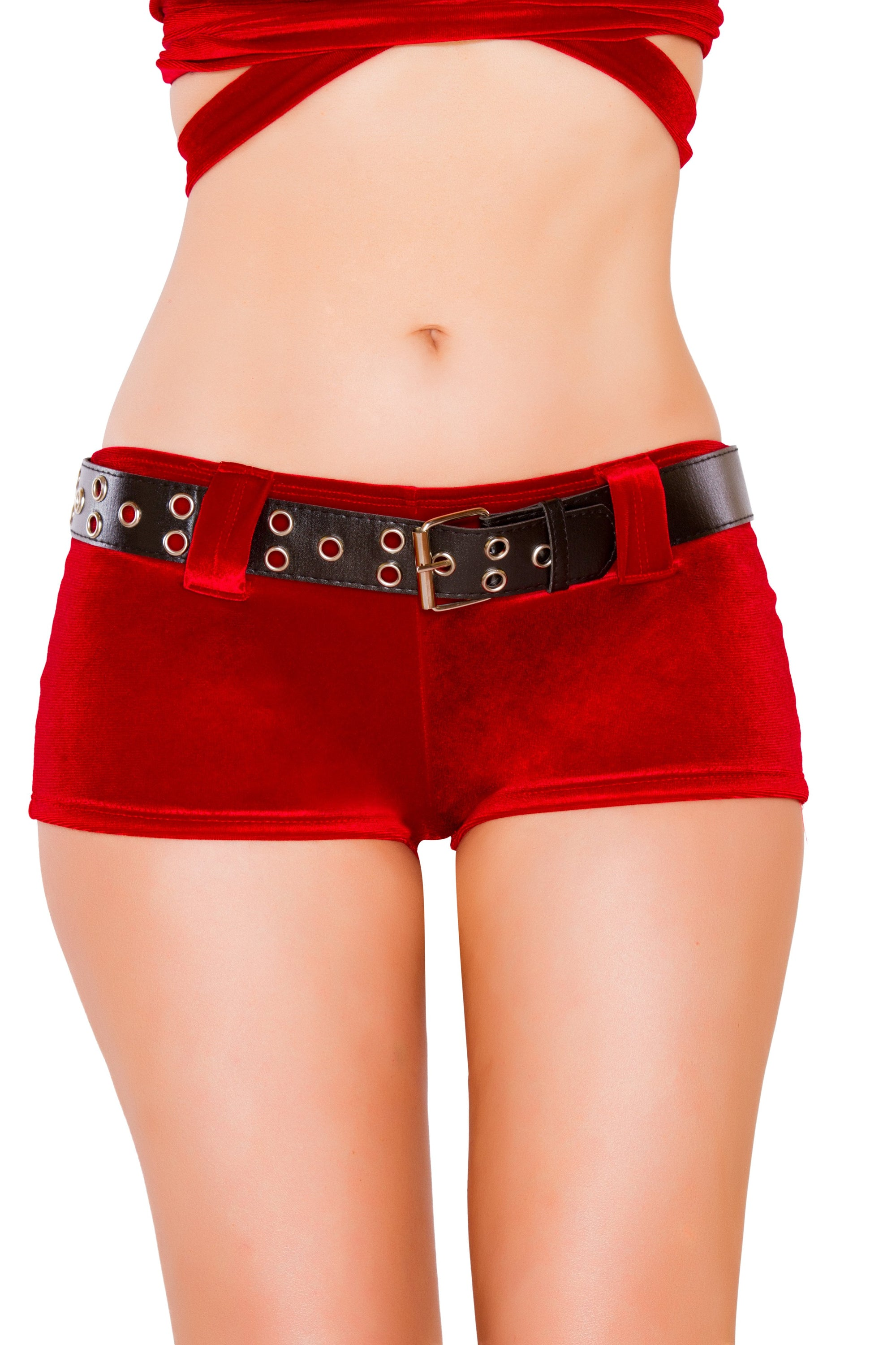 Buy Red Velvet Shorts with Belt from Rave Fix for $18.99 with Same Day Shipping Designed by Roma Costume SH3229-AS-S/M
